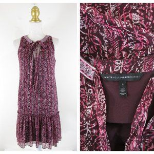 WHBM Red Burgundy Printed Tie Neck Trapeze Dress S